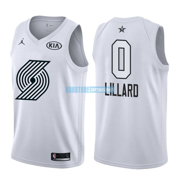 Maillot NBA 2018 All Star NO.0 Damian Lillard Blanc Qualité 100%