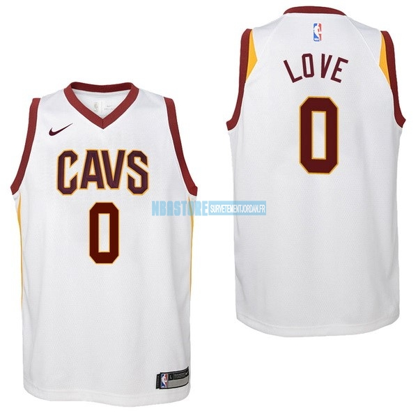 Maillot NBA Enfant Cleveland Cavaliers NO.0 Kevin Love Blanc Association 2017-18 Qualité 100%