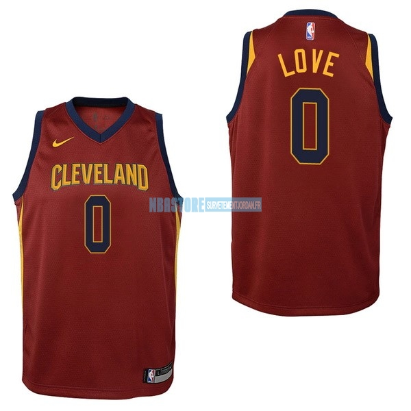 Maillot NBA Enfant Cleveland Cavaliers NO.0 Kevin Love Rouge Icon 2017-18 Qualité 100%