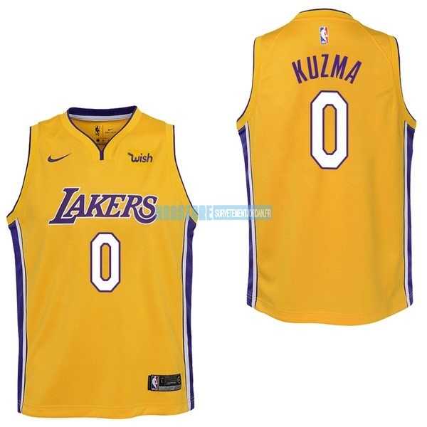 Maillot NBA Enfant Los Angeles Lakers NO.0 Kyle Kuzma Jaune 2017-18 Qualité 100%