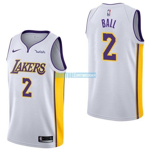 Maillot NBA Enfant Los Angeles Lakers NO.2 Lonzo Ball Blanc 2017-18 Qualité 100%