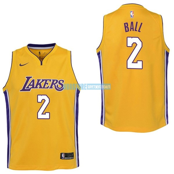 Maillot NBA Enfant Los Angeles Lakers NO.2 Lonzo Ball Jaune Icon 2017-18 Qualité 100%