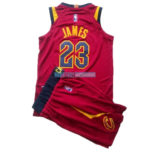 Maillot NBA Ensemble Complet Enfant Cleveland Cavaliers NO.23 LeBron James Rouge 2017-18 Qualité 100%