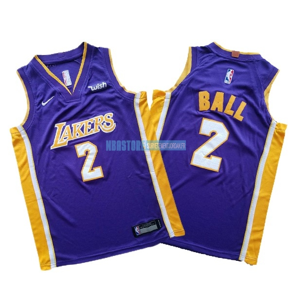 Maillot NBA Ensemble Complet Enfant Los Angeles Lakers NO.2 Lonzo Ball Pourpre 2017-18 Qualité 100%