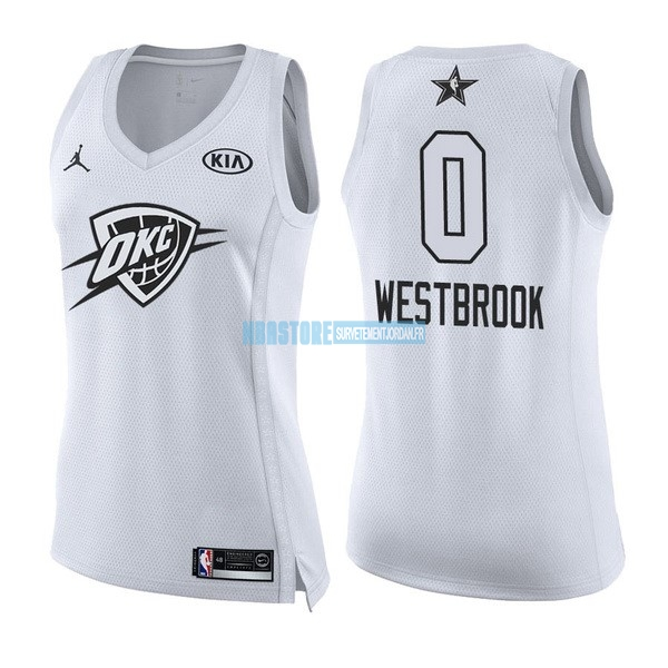 Maillot NBA Femme 2018 All Star NO.0 Russell Westbrook Blanc Qualité 100%