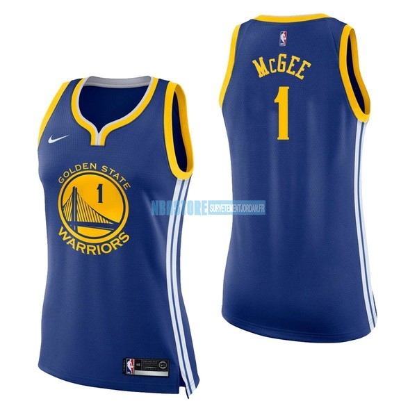 Maillot NBA Femme Golden State Warriors NO.1 JaVale McGee Bleu Icon Qualité 100%