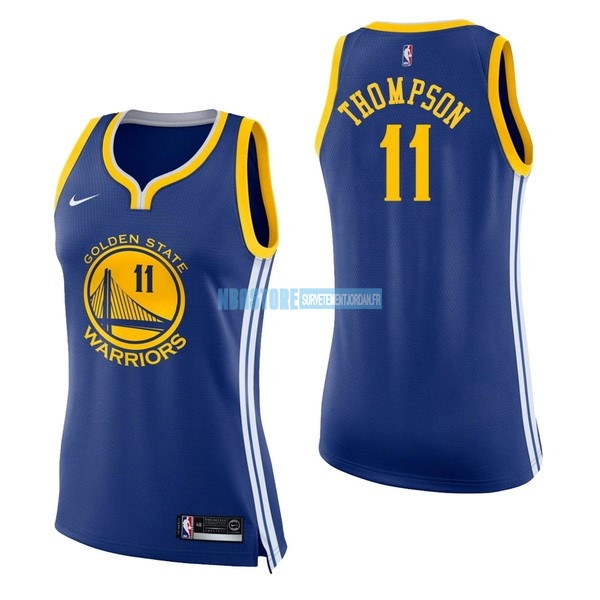 Maillot NBA Femme Golden State Warriors NO.11 Klay Thompson Bleu Icon Qualité 100%