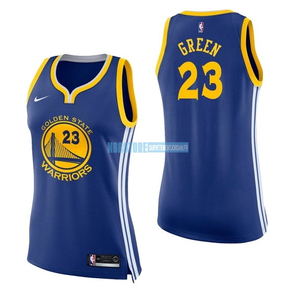 Maillot NBA Femme Golden State Warriors NO.23 Draymond Green Bleu Icon Qualité 100%