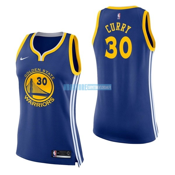 Maillot NBA Femme Golden State Warriors NO.30 Stephen Curry Bleu Icon Qualité 100%