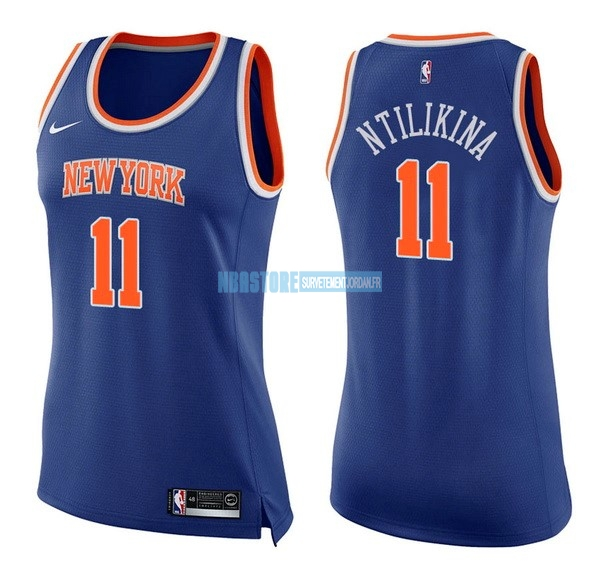Maillot NBA Femme New York Knicks NO.11 Frank Ntilikina Bleu Icon Qualité 100%