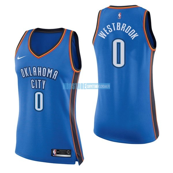 Maillot NBA Femme Oklahoma City Thunder NO.0 Russell Westbrook Bleu Icon Qualité 100%
