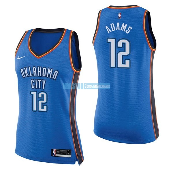 Maillot NBA Femme Oklahoma City Thunder NO.12 Steven Adams Bleu Icon Qualité 100%