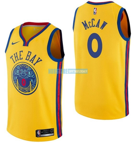 Maillot NBA Nike Golden State Warriors NO.0 Patrick McCaw Nike Jaune Ville Qualité 100%