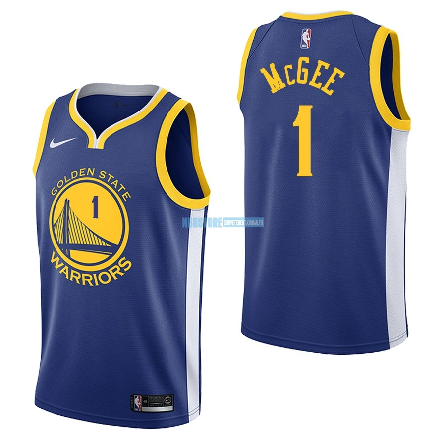 Maillot NBA Nike Golden State Warriors NO.1 JaVale McGee Bleu Icon Qualité 100%