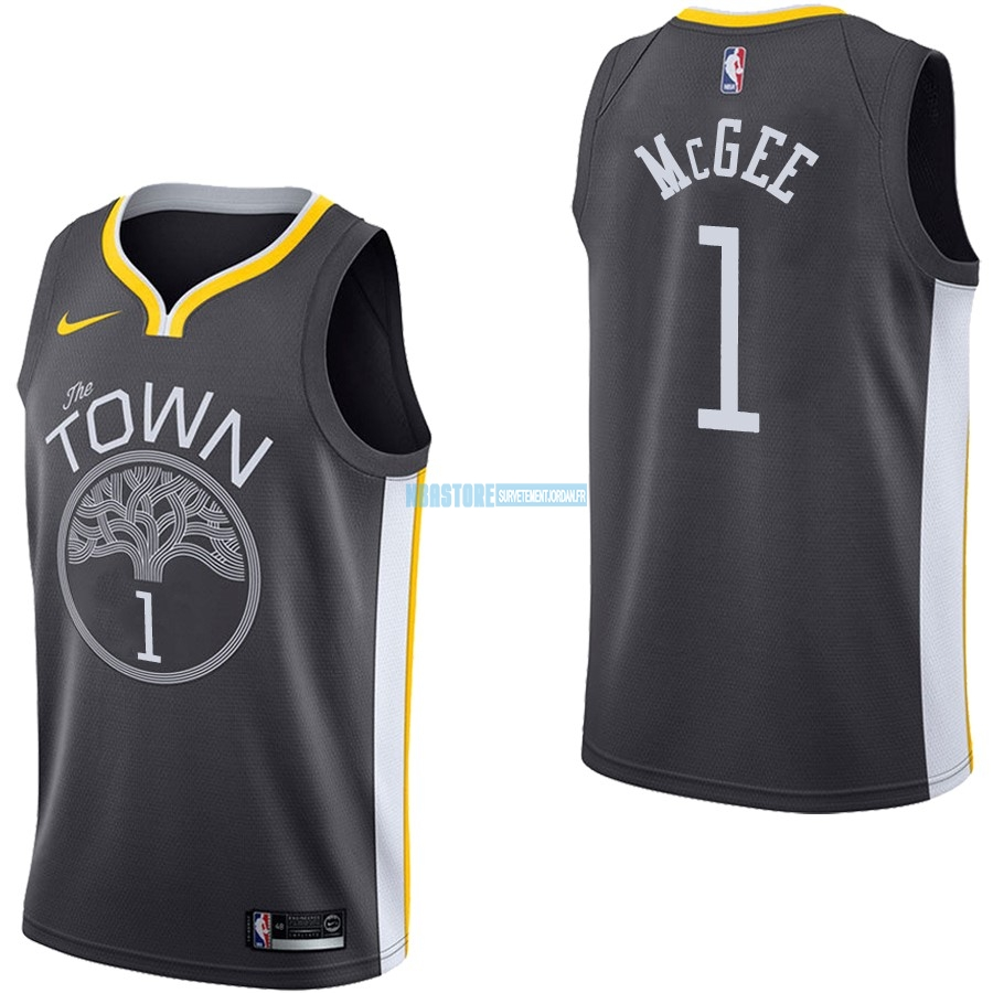 Maillot NBA Nike Golden State Warriors NO.1 JaVale McGee Noir Statement Qualité 100%
