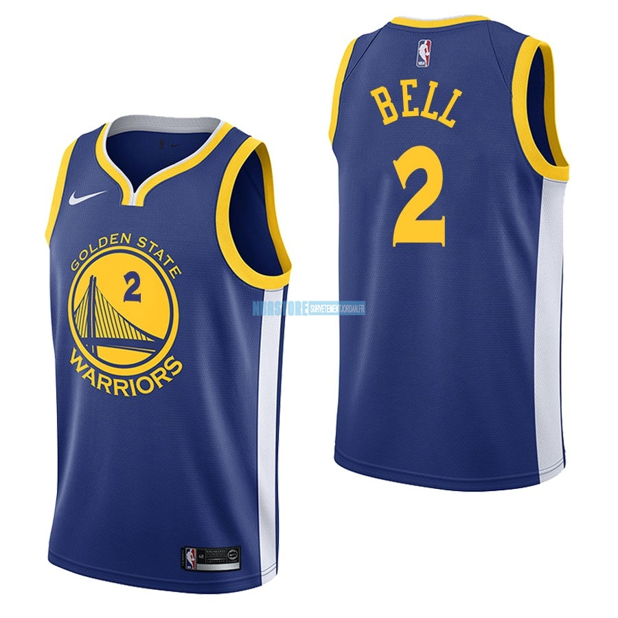 Maillot NBA Nike Golden State Warriors NO.2 Jordan Bell Bleu Icon Qualité 100%