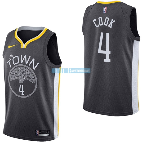 Maillot NBA Nike Golden State Warriors NO.4 Quinn Cook Noir Statement Qualité 100%