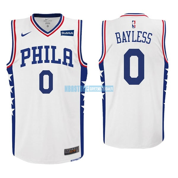 Maillot NBA Nike Philadelphia Sixers NO.0 Jerryd Bayless Blanc Qualité 100%