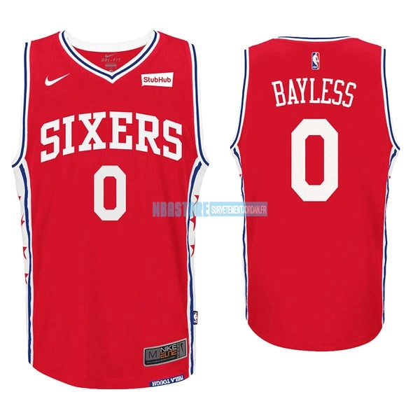 Maillot NBA Nike Philadelphia Sixers NO.0 Jerryd Bayless Rouge Qualité 100%