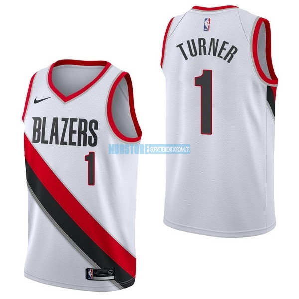 Maillot NBA Nike Portland Trail Blazers NO.1 Evan Turner Blanc Association Qualité 100%
