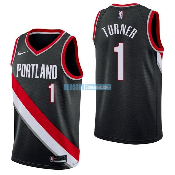 Maillot NBA Nike Portland Trail Blazers NO.1 Evan Turner Noir Icon Qualité 100%