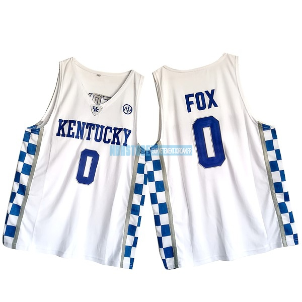 Maillot NCAA Kansas NO.0 De'Aaron Fox Blanc Qualité 100%
