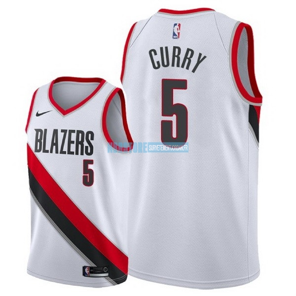 Maillot NBA Nike Portland Trail Blazers NO.5 Seth Curry Blanc Association 2018 Qualité 100%