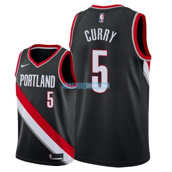 Maillot NBA Nike Portland Trail Blazers NO.5 Seth Curry Noir Icon 2018 Qualité 100%