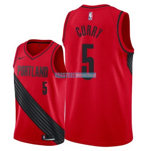Maillot NBA Nike Portland Trail Blazers NO.5 Seth Curry Rouge Statement 2018 Qualité 100%