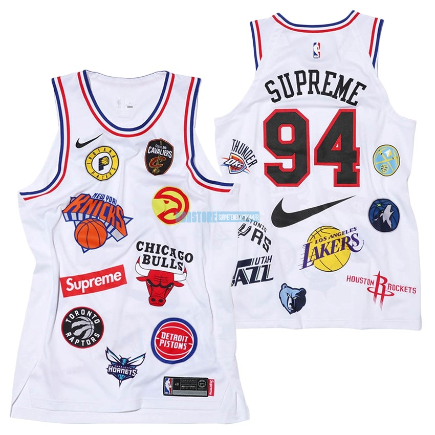 Maillot Collaboration Maillot Basket-ball Supreme x Nike #94 Logo Blanc Qualité 100%