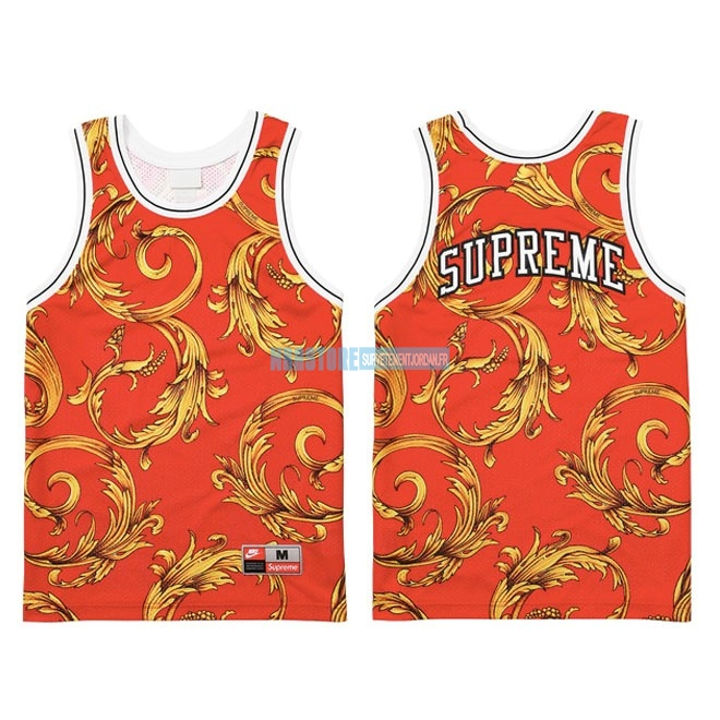 Maillot Collaboration Maillot Basket-ball Supreme x Nike Air Foamposite Rouge Qualité 100%