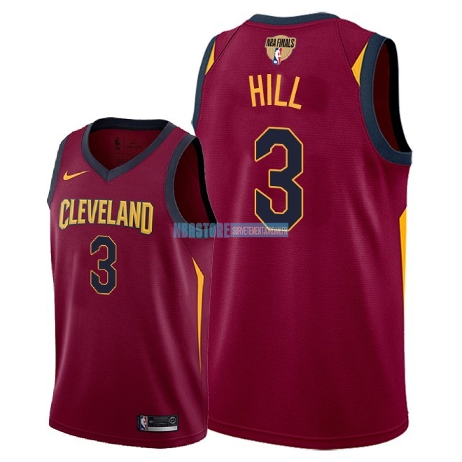 Maillot NBA Cleveland Cavaliers 2018 Final Champions NO.3 George Hill Rouge Icon Patch Qualité 100%