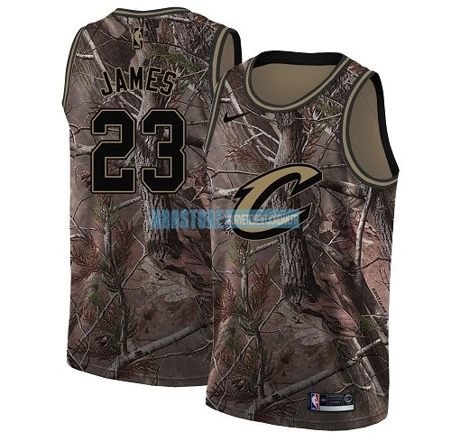 Maillot NBA Cleveland Cavaliers NO.23 LeBron James Camo Swingman Collection Realtree 2018 Qualité 100%