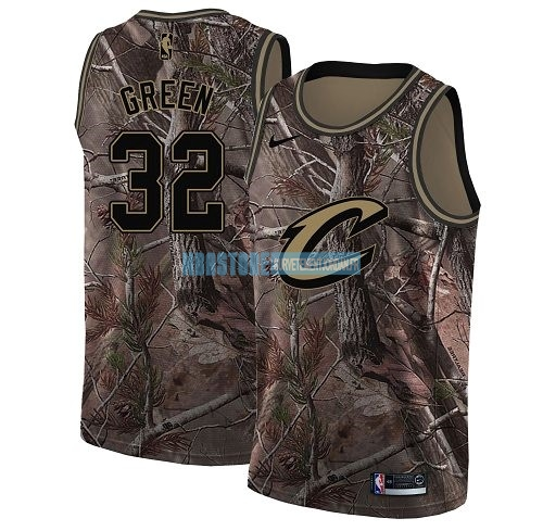 Maillot NBA Cleveland Cavaliers NO.32 Jeff Green Camo Swingman Collection Realtree 2018 Qualité 100%