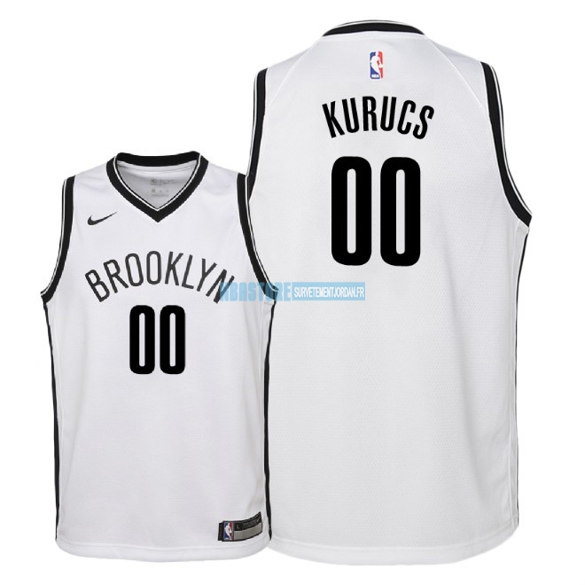 Maillot NBA Enfant Brooklyn Nets NO.0 Rodions Kurucs Blanc Association 2018 Qualité 100%