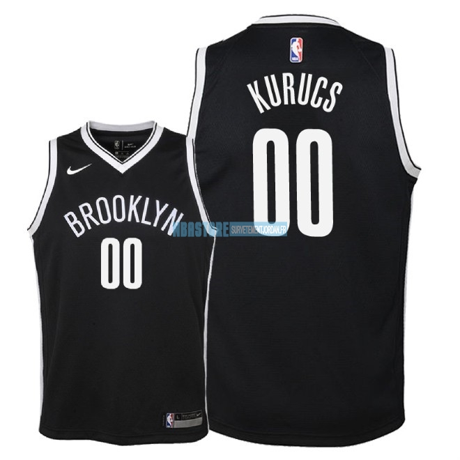 Maillot NBA Enfant Brooklyn Nets NO.0 Rodions Kurucs Noir Icon 2018 Qualité 100%