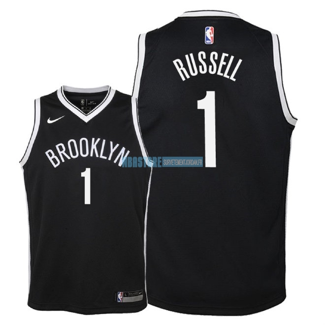 Maillot NBA Enfant Brooklyn Nets NO.1 D'Angelo Russell Noir Icon 2018 Qualité 100%