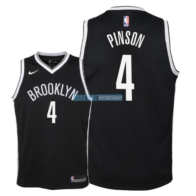 Maillot NBA Enfant Brooklyn Nets NO.4 Theo Pinson Noir Icon 2018 Qualité 100%