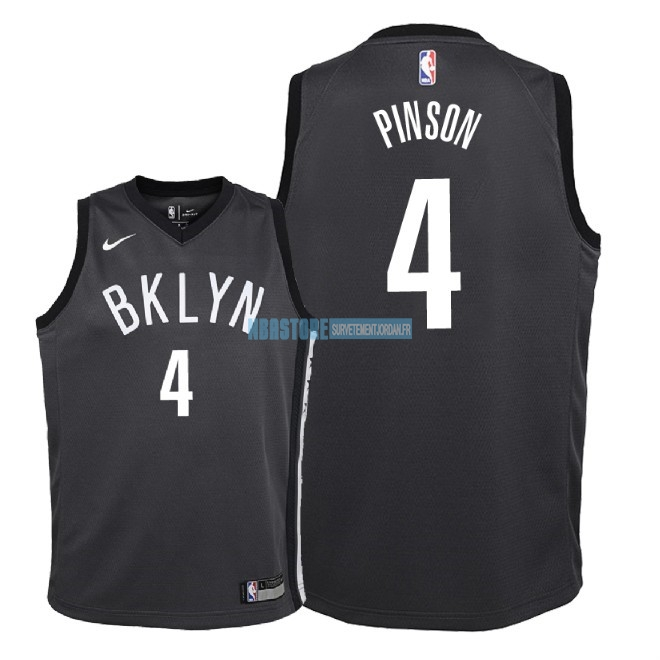 Maillot NBA Enfant Brooklyn Nets NO.4 Theo Pinson Noir Statement 2018 Qualité 100%