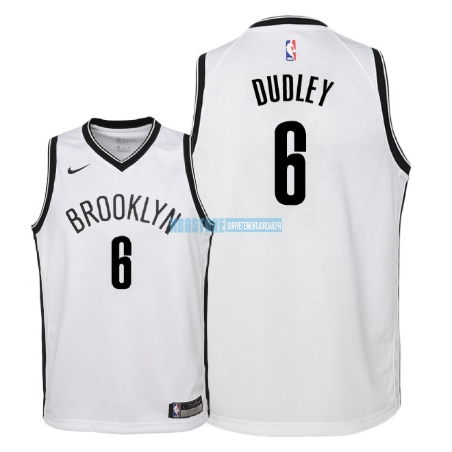 Maillot NBA Enfant Brooklyn Nets NO.6 Jared Dudley Blanc Association 2018 Qualité 100%