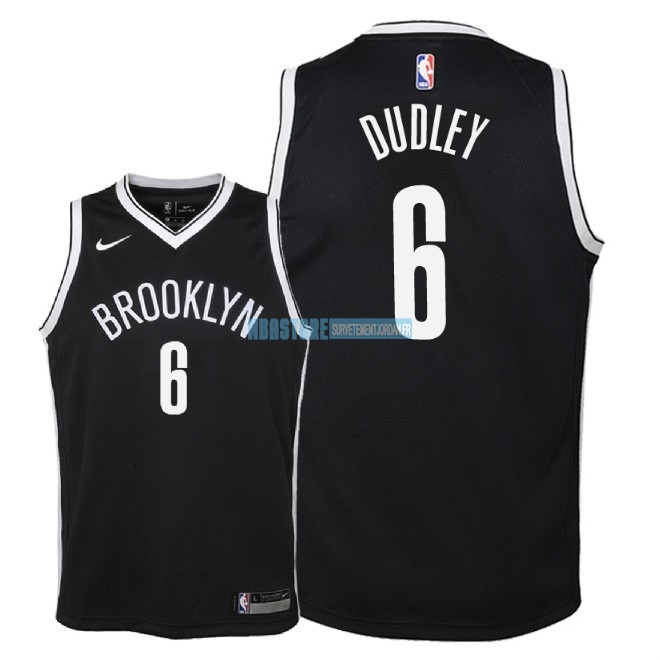 Maillot NBA Enfant Brooklyn Nets NO.6 Jared Dudley Noir Icon 2018 Qualité 100%