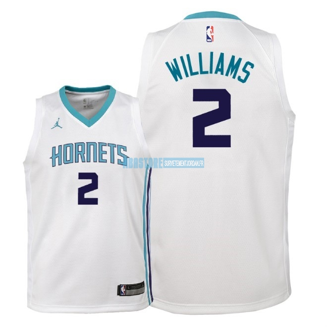 Maillot NBA Enfant Charlotte Hornets NO.2 Marvin Williams Blanc Association 2018 Qualité 100%