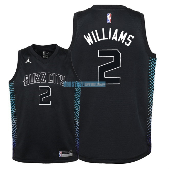 Maillot NBA Enfant Charlotte Hornets NO.2 Marvin Williams Nike Noir Ville 2018 Qualité 100%