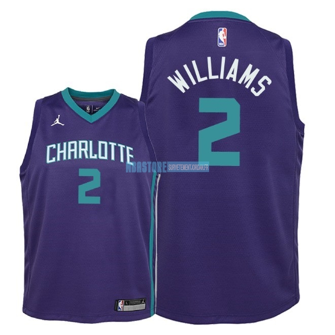 Maillot NBA Enfant Charlotte Hornets NO.2 Marvin Williams Pourpre Statement 2018 Qualité 100%