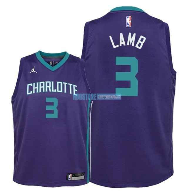 Maillot NBA Enfant Charlotte Hornets NO.3 Jeremy Lamb Pourpre Statement 2018 Qualité 100%