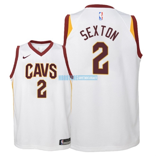 Maillot NBA Enfant Cleveland Cavaliers NO.2 Collin Sexton Blanc Association 2018 Qualité 100%