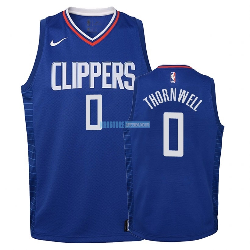Maillot NBA Enfant Los Angeles Clippers NO.0 Sindarius Thornwell Bleu Icon 2018 Qualité 100%