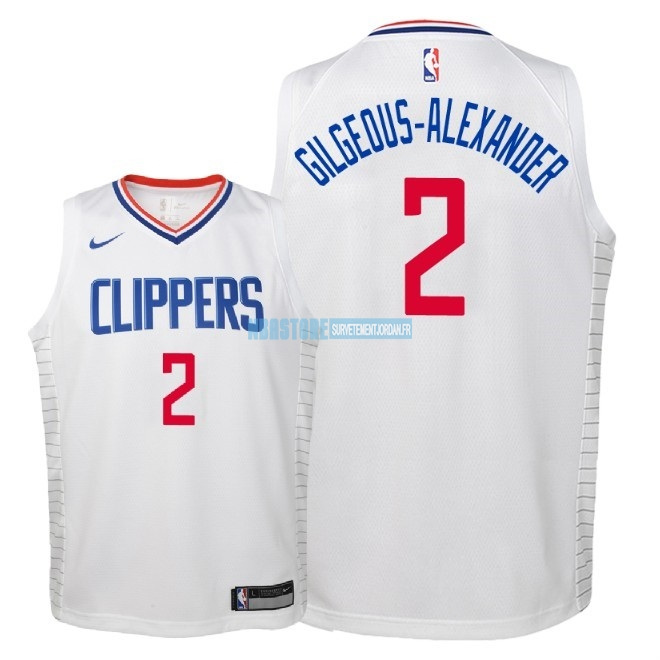 Maillot NBA Enfant Los Angeles Clippers NO.2 Shai Gilgeous Alexander Blanc Association 2018 Qualité 100%