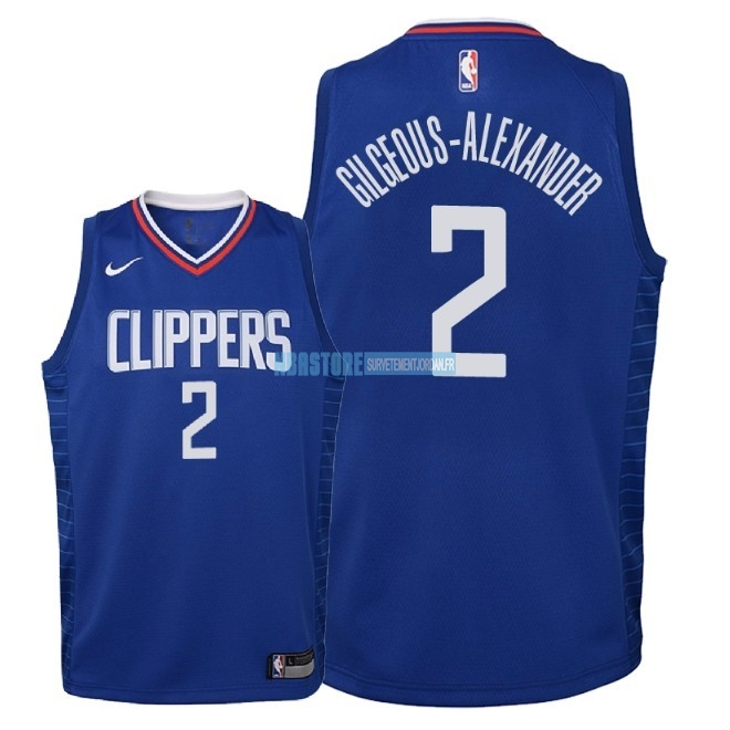 Maillot NBA Enfant Los Angeles Clippers NO.2 Shai Gilgeous Alexander Bleu Icon 2018 Qualité 100%