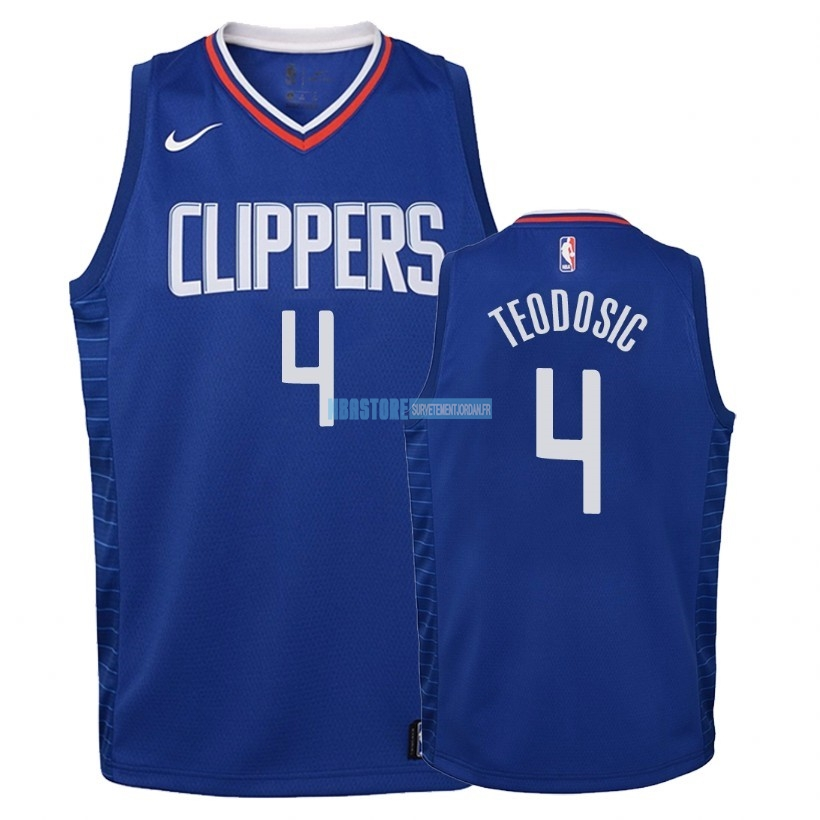Maillot NBA Enfant Los Angeles Clippers NO.4 Milos Teodisic Bleu Icon 2018 Qualité 100%